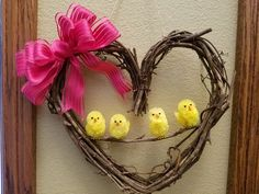 Spring Wreath, Easter Wreath, Heart Wreath by InspiredDesignShoppe on Etsy Easter Crafts, Holiday Crafts, Holiday Ideas, Heart Wreath, Egg Shape, Easter Wreaths, Flower Arrangements, Craft Projects, Craft Ideas