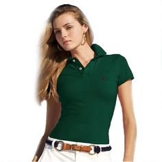 Ralph Lauren Women Green Mesh Short Sleeved Polo$34.35
