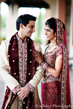 Portrait Of The Bride And Groom Before Their Indian Wedding Ceremony
