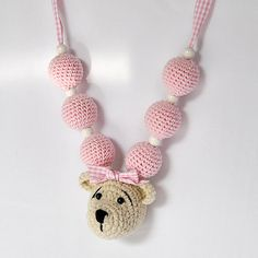 Adorable Crocheted Beads Necklace with Crocheted Bear. Get your unfinished beads at www.fizzypops.com.