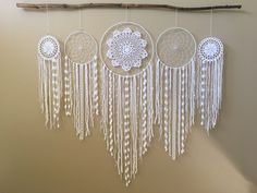 Dreamcatcher Wall Hanging Collection, Set of 5 Dream Catchers, White Dreamcatchers, Bohemian Wedding Backdrop, Boho Decor, Dorm Decor by driftwoodanddreamers on Etsy https://www.etsy.com/listing/507281527/dreamcatcher-wall-hanging-collection-set