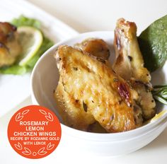 2013 SUPER BOWL RECIPES -  ROSEMARY-LEMON CHICKEN WINGS  Recipes by Rozanne Gold | #lenox