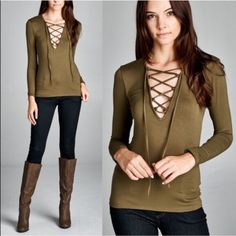 🚨1 HR SALE🚨LILITH lace tie up top - OLIVE Fitted, long sleeve top. Lace up at front with spaghetti tie. This top is made with heavy weight, knit jersey fabric that is soft, stretches very well and is not sheer. Fabric 95% Rayon, 5% Spandex Made in U.S.A. Bellanblue Tops Blouses