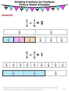 Dividing Fractions 6th Grade Math Review Sheets Fractions