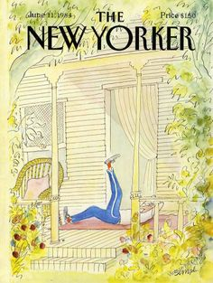 1984 Jean-Jacques Sempé Art Man on Porch Foot in Air New Yorker Cover