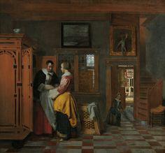Interior with women beside a linen cupboard by Pieter de Hooch, 1663. Rijksmuseum, Public Domain