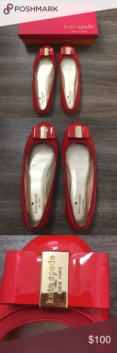 🆕Kate Spade Flats Red Patent Flats with gold hardware. Only worn once. kate spade Shoes Flats & Loafers