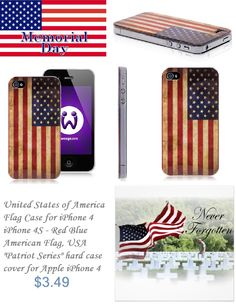 United States of America Cover Case for iPhone 4 4S 4th - Hard iPhone 4 American Flag Back Cover #memorial #day #us #cover #case #iphone 4 #american #flag #united #states #back #cover #iphone $3.49