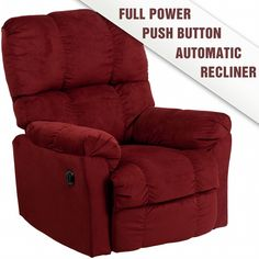 Contemporary Top Hat Berry Microfiber Power Recliner. 35''W x 41'' - 57''D x 43''HArm-Height From Floor: 26''H