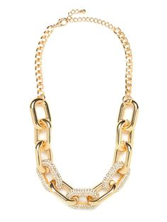 Our obsession with chain collars really knows no bounds.  This tough girl chain collar gains a sophisticated edge with the addition of pave crystals that alternate from link to link. This is part of BaubleBars 2nd Anniversary Collection