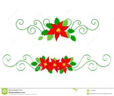 Illustration about Collection of colorful christmas dividers with red poinsettia flowers and holly leaves. Illustration of greeting, festoon, berries - 21103239 Christmas Embroidery Patterns, Poinsettia Flower, Holly Leaf, Christmas Crafts, How To Draw Hands, Doodles, Clip Art, Illustration, Floral