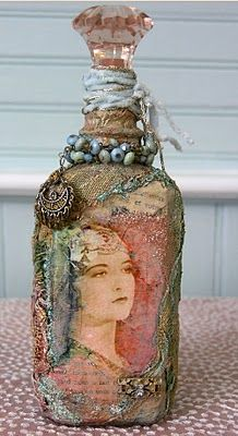 I love, love, love this! I cannot find any info on 'how to'. She has a link that is not working at this time (will check again). If anyone has or can find info on creating these bottles, please leave a comment!!  I know there is soldering involved.  Beautiful!