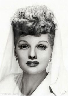 Portrait of Ms. Lucille Ball - Charcoal and Graphite Pencil Drawing by Faith Te… Beautiful Pencil Drawings, Realistic Pencil Drawings, Horse Drawings, Art Drawings, Pencil Portrait Drawing, Pencil Art, Drawing Portraits, Portrait Paintings, Acrylic Paintings