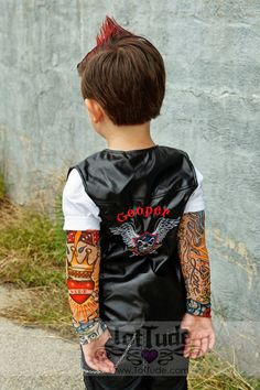 Black Faux Leather Biker Vest - Personalized Eagle Crest Embroidered Child Size by TotTude on Etsy