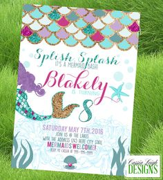 Mermaid / Under the Sea Birthday Party - Custom Invitation Printable - Purple and Mint / teal