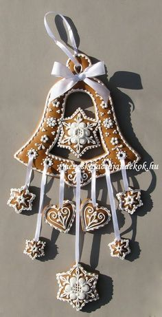 Items similar to Hungarian Christmas Bell Window Hanging Decoration.Gift, Decor on Etsy Christmas Gingerbread House, Christmas Bells, Christmas Goodies, Gingerbread Man, Christmas Baking, All Things Christmas, Gingerbread Cookies, Christmas Holidays, Christmas Crafts