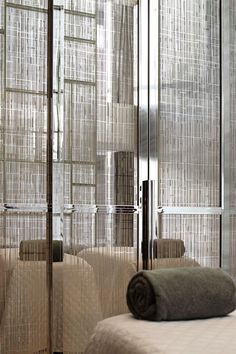 Etched glass wardrobe doors // Yabu Pushelberg Hotel Suits for Park Hyatt Partition Screen, Glass Partition, Spa Design, Yabu Pushelberg, Saunas, Screen Design, Home Spa, Hotel Lobby, Hospitality Design