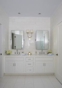 Lynn Morgan Design: Master bathroom with blue painted ceiling and white bathroom floor tiles. Wall to wall ...
