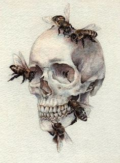 Skull and Bees Tattoo Design