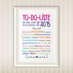 To-Do 2015 | Print | Druck | A4 | Wall Art | Family | Familie | schöne Sprüche