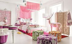 pretty room ideas using pink theme plus white bench and lovely ottoman for bedroom decoration ideas
