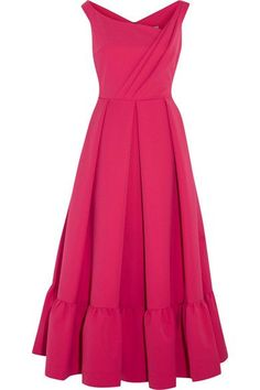 EXCLUSIVE AT NET-A-PORTER.COM. Preen by Thornton Bregazzi re-imagines its best-selling 'Finella' dress - made famous by the Duchess of Cambridge - into the 'Palmer' for Spring '17. Cut from vibrant fuchsia stretch-crepe, it has an asymmetric neckline, neatly folded pleats and a full midi skirt. You'll love how it nips you in at the waist.