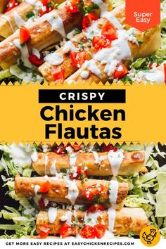 These Mexican fried chicken flautas are a great quick and easy dish that can be served as an appetizer or main. Also known as rolled tacos, they are ready to serve in 30 minutes. Oven Baked Chicken, Crispy Chicken, Roasted Chicken, Fried Chicken, Mexican Chicken Recipes, Easy Chicken Recipes, Quick Weeknight Meals, Easy Meals, Recipe T