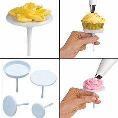 1Set/4PCS Sugarcraft Cake Stand Icing Cream Flower Decorating Nail Set Tool