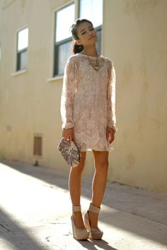 thick strap beige pumps modernize this otherwise vintage looking lace #dress
