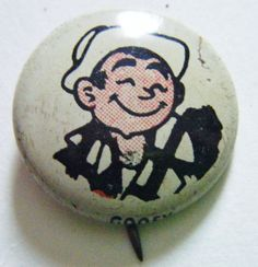 """1946 Kellogg's Pep Pin """"Goofy"""" From Comic Strip Harold Teen Litho Pin Collectible Memorabilia by parkledge on Etsy"""