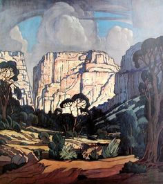 """hajandrade: """"Jacobus Hendrik Pierneef (South African, 1886 - title and date not given """" Klimt, Landscape Art, Landscape Paintings, Illustrations, Illustration Art, South African Artists, Africa Art, Artist Art, Art Oil"""