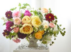 Peonies, ranunculus, dahlias and roses.