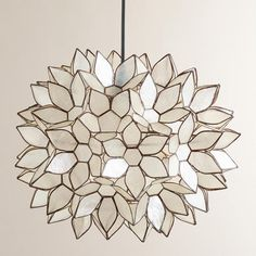 Possibly for over the bed in the new bedroom. WorldMarket.com: Large Capiz Lotus Hanging Pendant Lantern, $149