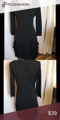 Calvin Klein Scoop Neck Fringed Sweater Dress Charcoal Gray Fringed sweater dress with scoop neck. Bust 18.5 Length 37. Calvin Klein Dresses