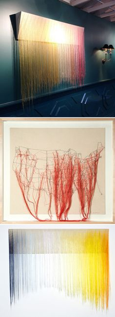 The colorful, flowing, thread pieces of LA based artist Nike Schroeder. via. The Jealous Curator