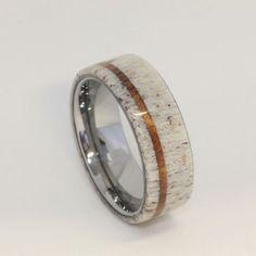 deer ring | Deer Antler with Oak Pinstripe Titanium Ring | awesome idees!