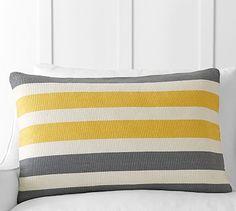 Tri-Color Awning Stripe Lumbar Pillow Cover #potterybarn