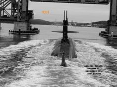 Sub heading to Base under GoldStar Bridge New London CT  December 2012  Photo by Seth Bendfeldt from Navy Tug