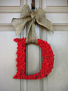 DIY Monogram Holly Wreath | Our Unexpected Journey