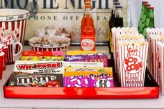 No movie night party should be without a concession stand, and that should never. No movie night party should be without a concession stand, and that should never be without candy. Backyard Movie Night Party, Movie Party, Party Time, Cinema Party, Movie Theater Snacks, Summer Parties, Night Parties, Teenage Parties, Snacks To Make