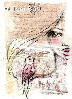 Sketch Face art journal sketch on mixed media background - pastel used on face and bird - Drawing Journal, Art Journal Pages, Art Journals, Mixed Media Faces, Mixed Media Art, Human Face Drawing, Drawing Faces, Wings Sketch, Art Journal Backgrounds