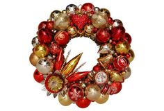 Red, Gold & Silver Ornament Wreath