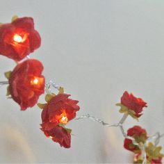 Red Shabby Rose Fairy Lights