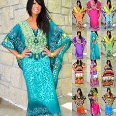 3f6f11814c Dress Kaftan Maxi Cover Up Boho Printed Taj Mahal Moroccan Animal Paisley  Caftan | eBay