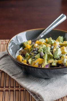 Mango Avocado Black Bean Quinoa Salad with Cilantro Lime Dressing