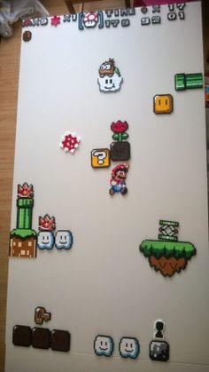 Gemaakt met mijn zoontje Mario Bros koelkast magneten van Hama kralen voor mijn zussie....Hama beads jvo
