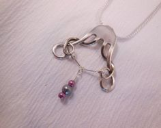 Engulfed With Love  Antique Sterling Silver Fork Necklace