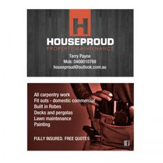 Houseproud Property Maintenance #businesscard design 2015