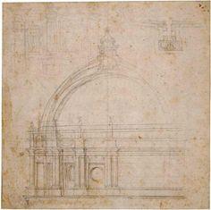 """""""Sez. IX Regola e libertà: Roma"""" Michelangelo: Studio per alzato di San Pietro, 1548-1551  #michelangelo450"""