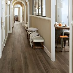 Wilderness porcelain plank tile, a classic American hardwood look that's very, very durable